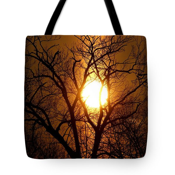 Sun Rise Sun Pillar Silhouette Tote Bag by Kenny Glotfelty