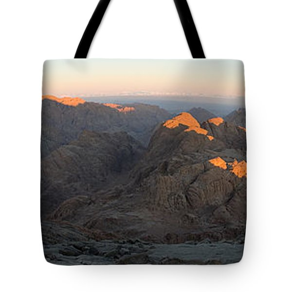 Tote Bag featuring the photograph Sun Rising On Sinai - Wide Angle Panorama by Julis Simo