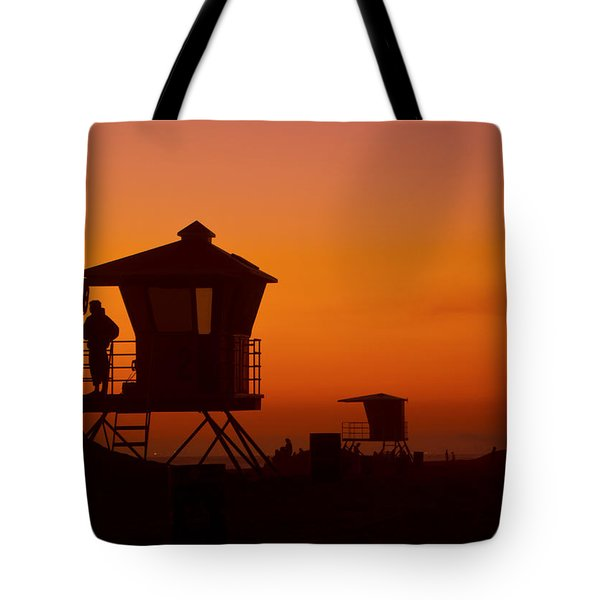 Sun Sets On Huntington Beach Tote Bag