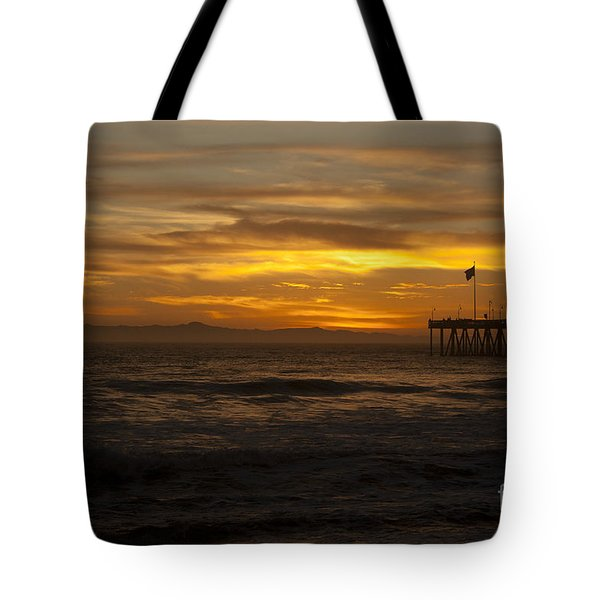 Tote Bag featuring the photograph Sun Setting Behind Santa Cruz With Ventura Pier 01-10-2010 by Ian Donley