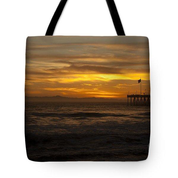 Sun Setting Behind Santa Cruz With Ventura Pier 01-10-2010 Tote Bag by Ian Donley