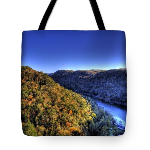 Sun Setting On Fall Hills Tote Bag by Jonny D