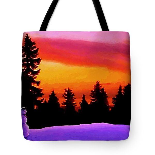 Sun Setting On Snow Tote Bag