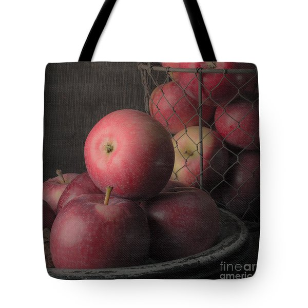 Sun Warmed Apples Still Life Square Tote Bag by Edward Fielding