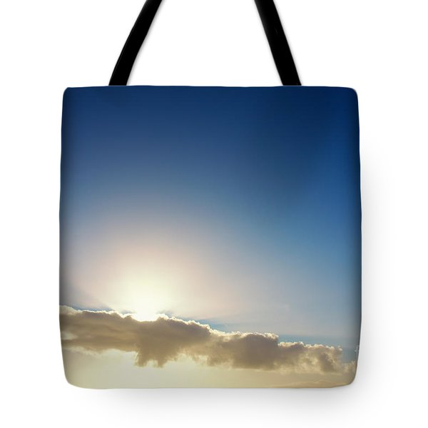 Sunbeams Behind Clouds Tote Bag