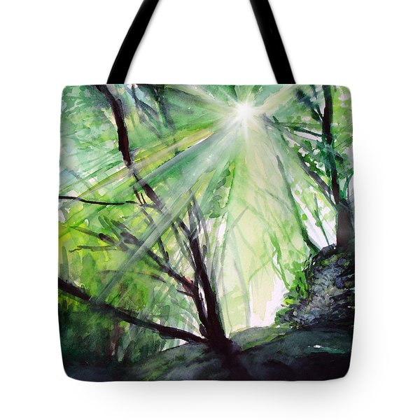 Tote Bag featuring the painting Sunbeans Of Grace by Allison Ashton