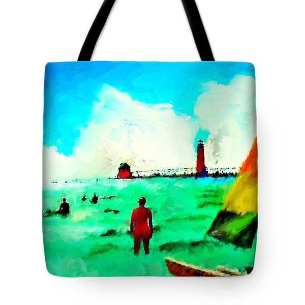 Tote Bag featuring the painting Sunday At Grand Haven by Ted Azriel