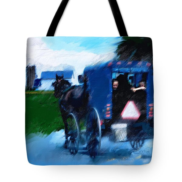 Tote Bag featuring the painting Sunday Buggy Ride by Ted Azriel