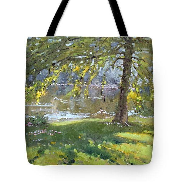 Sunday By The Pond In Port Credit Mississauga Tote Bag by Ylli Haruni