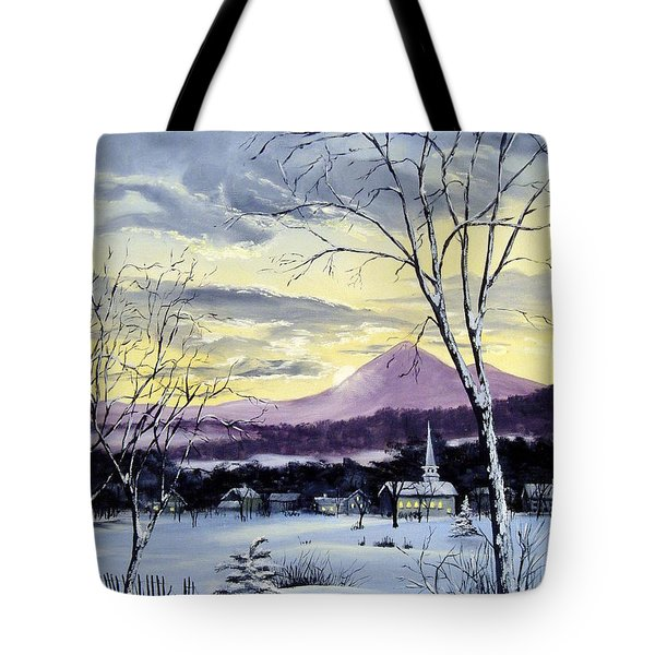 Tote Bag featuring the painting Sunday In Winter by Lee Piper