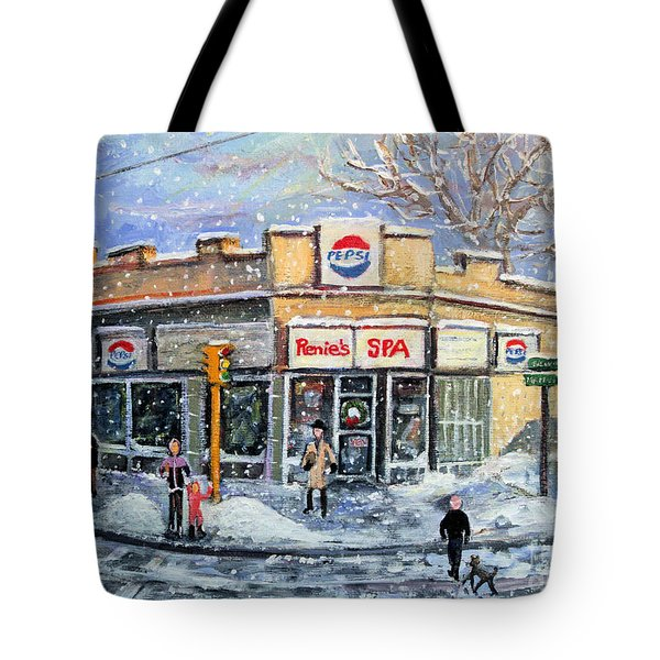 Tote Bag featuring the painting Sunday Morning At Renie's Spa by Rita Brown