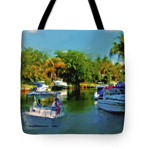Tote Bag featuring the painting Sunday Outing by Ted Azriel