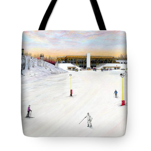 Tote Bag featuring the painting Sundial Lodge At Nemacolin Woodlands Resort by Albert Puskaric