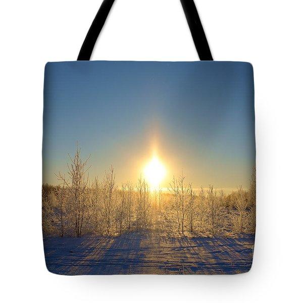 Sundogs In Winter Wonderland Tote Bag
