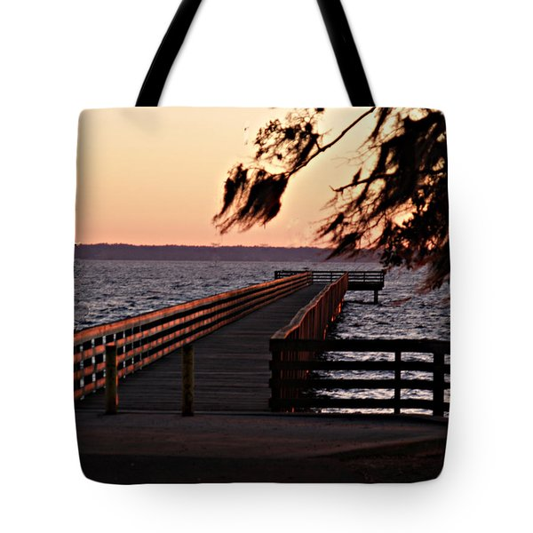 Sundown At Shands Dock Tote Bag