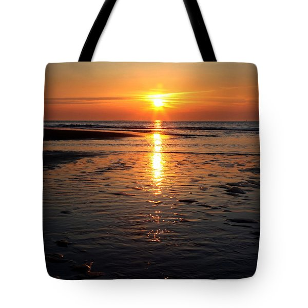 Tote Bag featuring the photograph Sundown At The North Sea by Annie Snel