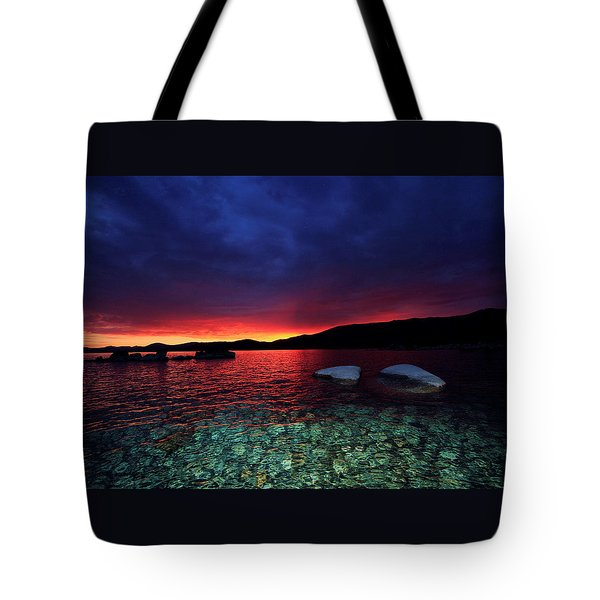 Tote Bag featuring the photograph Sundown In Lake Tahoe by Sean Sarsfield