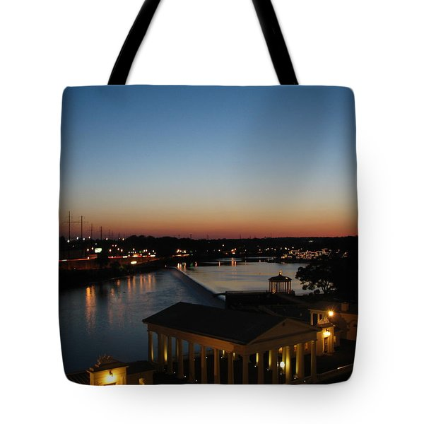 Sundown On The Schuylkill Tote Bag by Christopher Woods