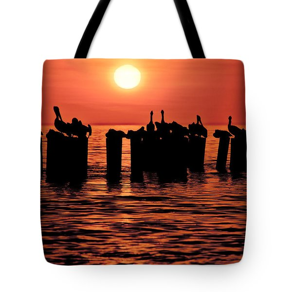 Tote Bag featuring the photograph Sundown With Pelicans by Julis Simo