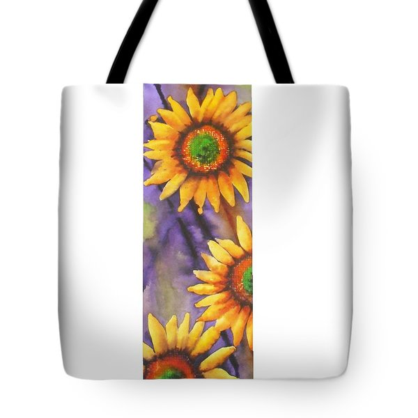 Tote Bag featuring the painting Sunflower Abstract  by Chrisann Ellis