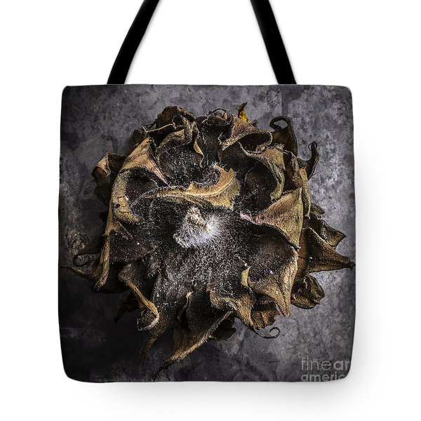 Sunflower Abstract Square Tote Bag by Edward Fielding