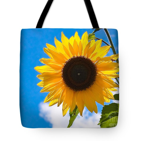 Sunflower And Bee At Work Tote Bag