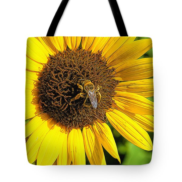 Sunflower And Bee Painting Tote Bag