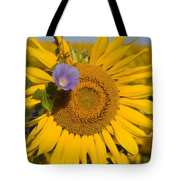 Tote Bag featuring the photograph Sunflower And Friend by Chris Scroggins