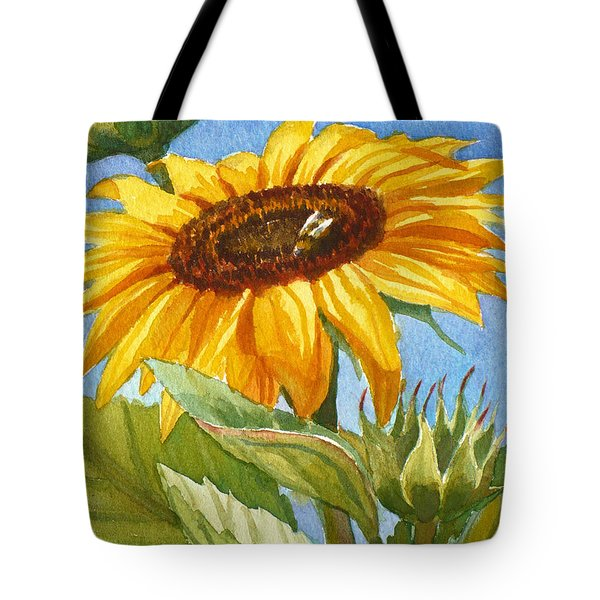 Sunflower And Honey Bee Tote Bag