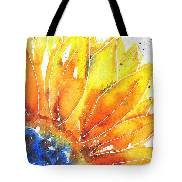 Sunflower Blue Orange And Yellow Tote Bag