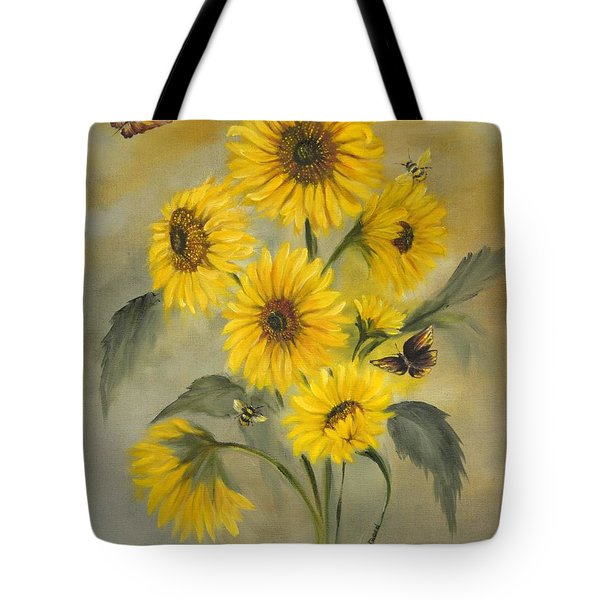 Tote Bag featuring the painting Sunflower Bouquet by Carol Sweetwood
