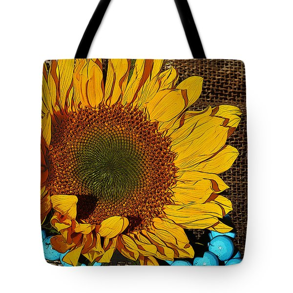 Sunflower Burlap And Turquoise Tote Bag by Phyllis Denton