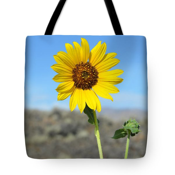 Sunflower By Craters Of The Moon Tote Bag by Debra Thompson