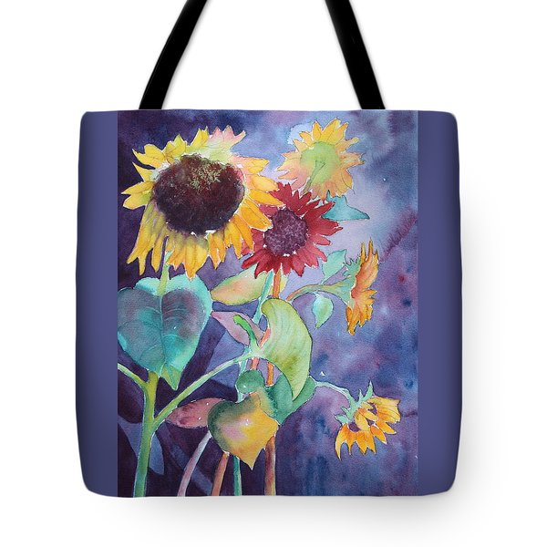 Tote Bag featuring the painting Sunflower Color by Nancy Jolley