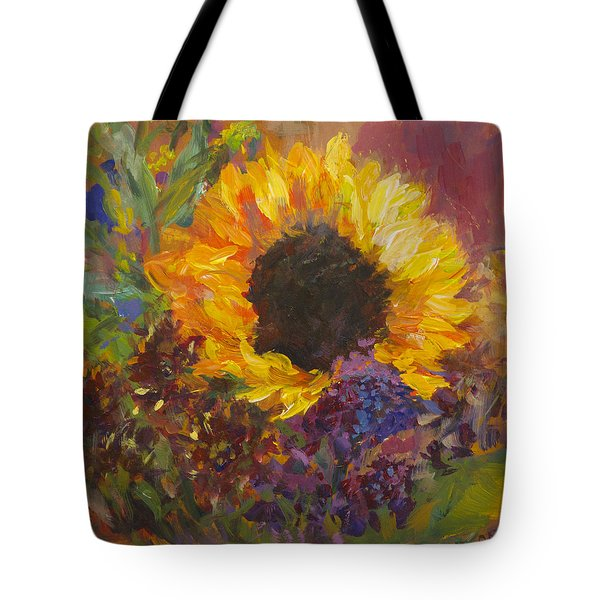 Sunflower Dance Original Painting Impressionist Tote Bag by Quin Sweetman