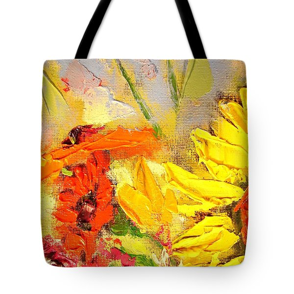 Tote Bag featuring the painting Sunflower Detail by Ana Maria Edulescu