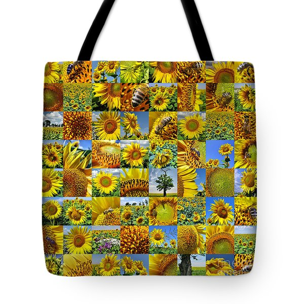 Sunflower Field Collage In Yellow Tote Bag