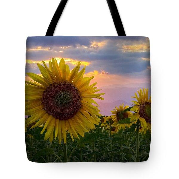 Sunflower Field Tote Bag by Debra and Dave Vanderlaan