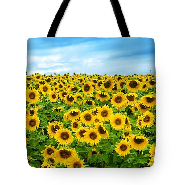 Tote Bag featuring the photograph Sunflower Field by Mike Ste Marie