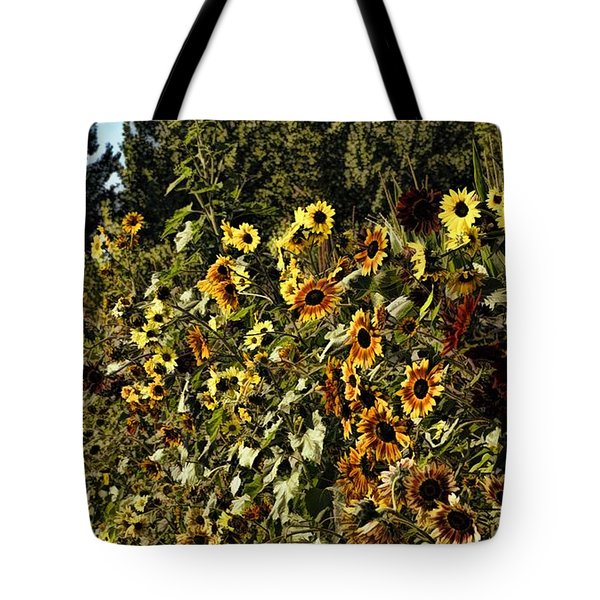 Sunflower Fields Forever Tote Bag by Peggy Hughes
