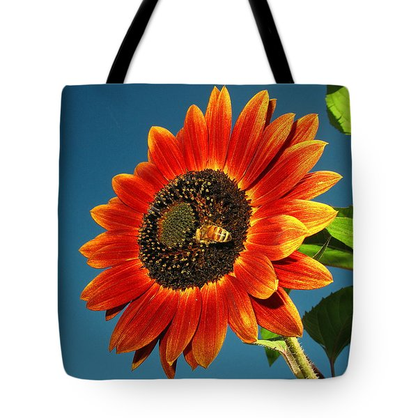 Tote Bag featuring the photograph Sunflower Honey Bee by Joyce Dickens