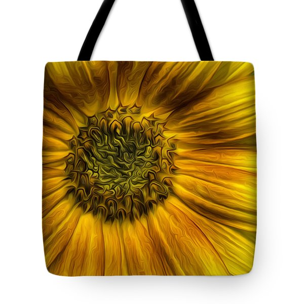 Sunflower In Oil Paint Tote Bag