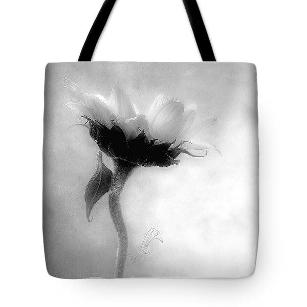 Sunflower In Profile Tote Bag by Louise Kumpf