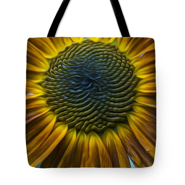 Sunflower In Rain Tote Bag