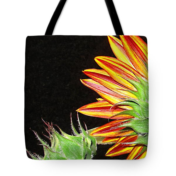 Sunflower In The Making Tote Bag by Joyce Dickens