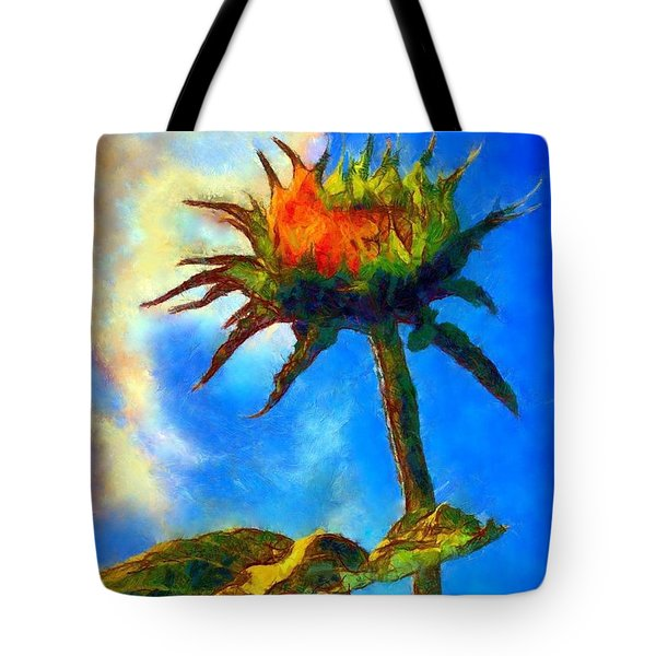 Sunflower - It's A Glorious Day She Said. Tote Bag by Janine Riley