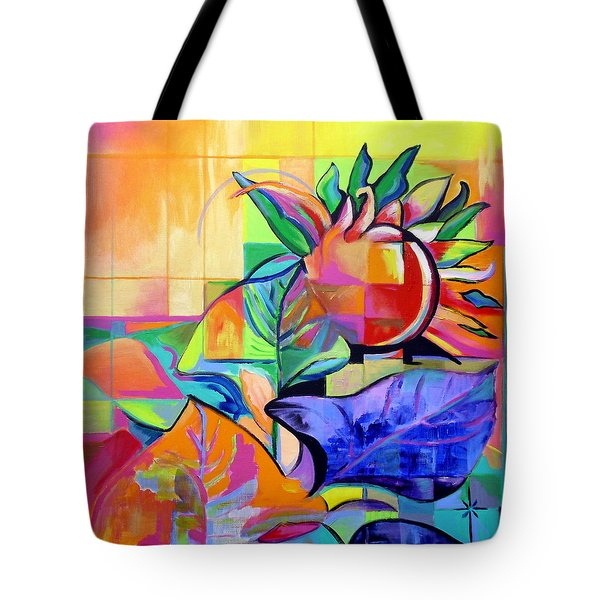 Tote Bag featuring the painting Sunflower by Jodie Marie Anne Richardson Traugott          aka jm-ART