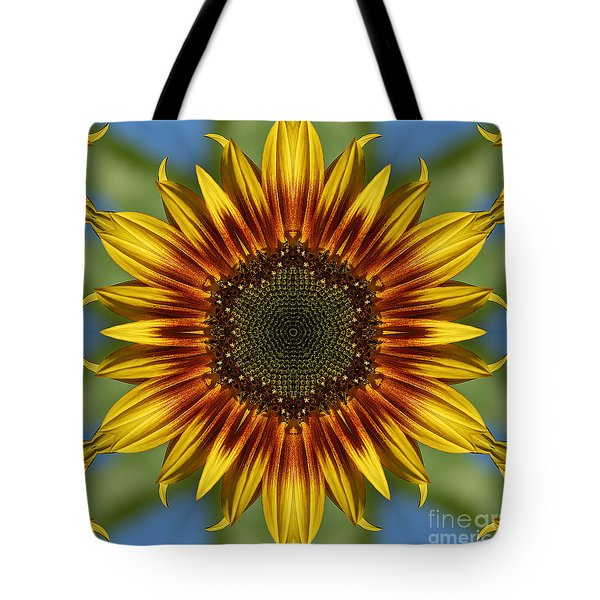 Sunflower Kaleidoscope Tote Bag by Cindi Ressler