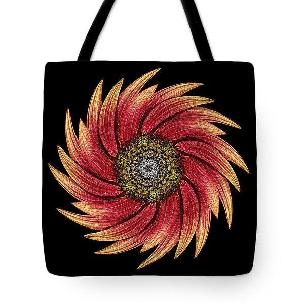 Sunflower Moulin Rouge Ix Flower Mandala Tote Bag by David J Bookbinder