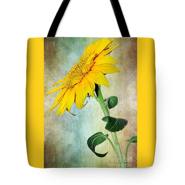 Sunflower On Textured Canvas Tote Bag by Kaye Menner